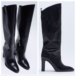 NEW: ZARA LEATHER HIGH SHAFT HEELED LEATHER BOOTS